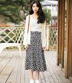 Весна Новая Мода Корея Женщины Повседневная Империи Талии Цветок Печати Черная Юбка Опрятный Стиль Симпатичные Онлайн Midi юбки Женщин