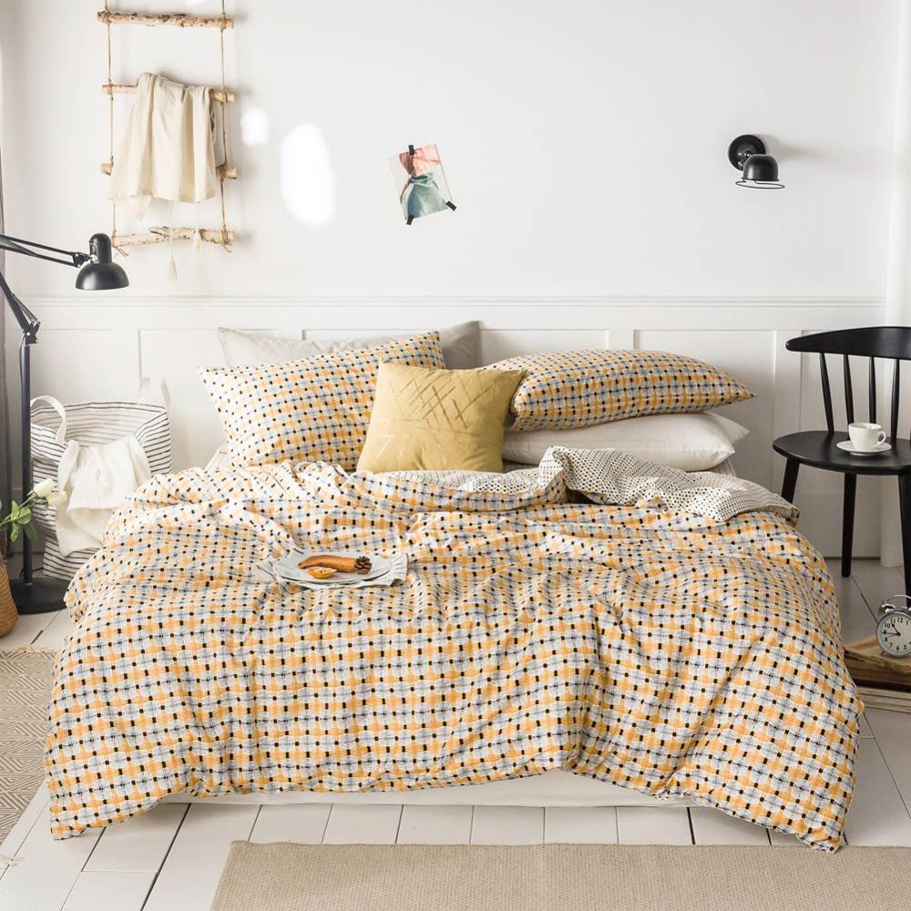 2019 Geometric Yellow Plaids Bed Cover Duvet Cover Set Cotton Bedding Set Bedlinens Twin Queen King Flat Sheet Fitted Sheet