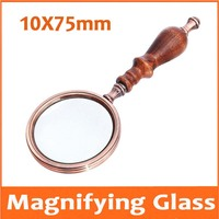 10X 75mm Lens Child Toy Gift Sandalwood Wood Handle Handheld Office Reading 10 Times Magnifier Magnifying Glass for Old Man
