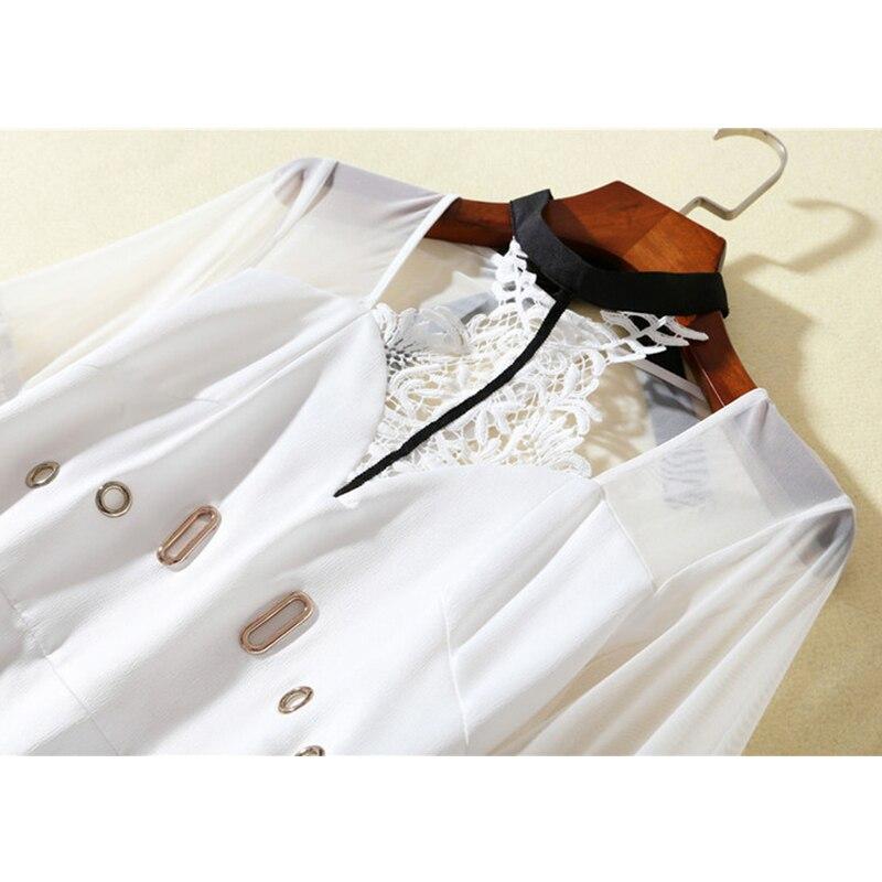 Blanco Slim Estilo Primavera Vestido Otoño Las Moda Retro Mujeres 2019 De Vestidos Linterna Corte Patchwork Vintage Manga E6759 pwCYBSnq