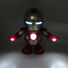 New Hot Avenger Steel Machine Man Dancing Robot Light Electric Music Toy Marvel Series Iron Children Gifts