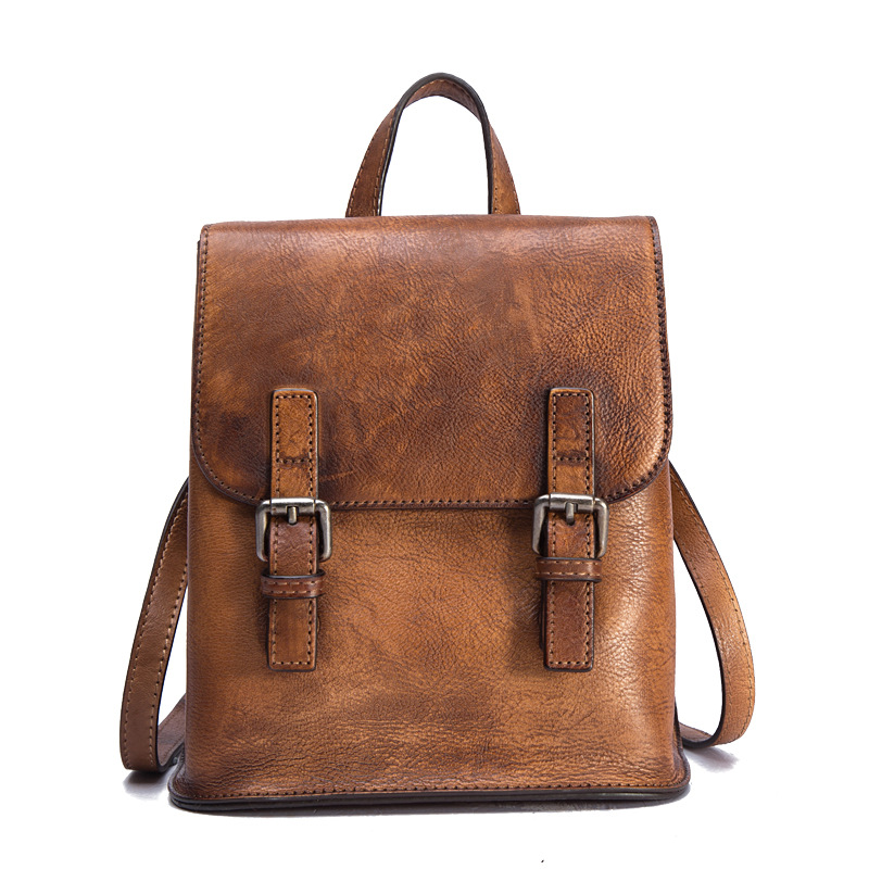 Women Backpack Travel Bag Daypack Brush Color Large Capacity Knapsack Cowhide Vintage Genuine Leather Girls School