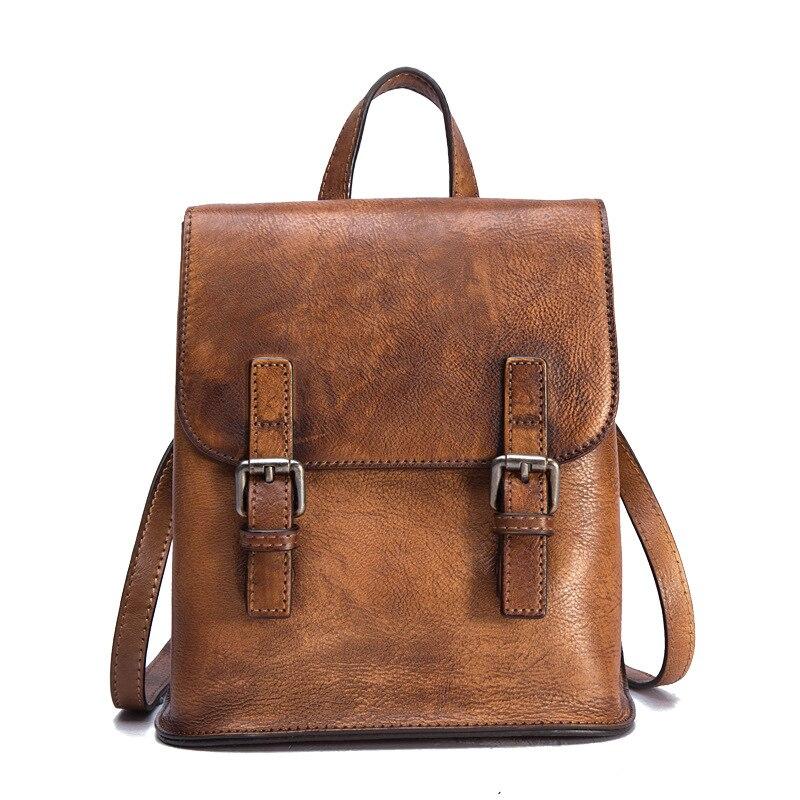 Kobiety plecak torba podróżna plecak szczotka kolor duża pojemność plecak skóra bydlęca rocznika prawdziwej skóry dziewczyny plecak szkolny w Plecaki od Bagaże i torby na  Grupa 1