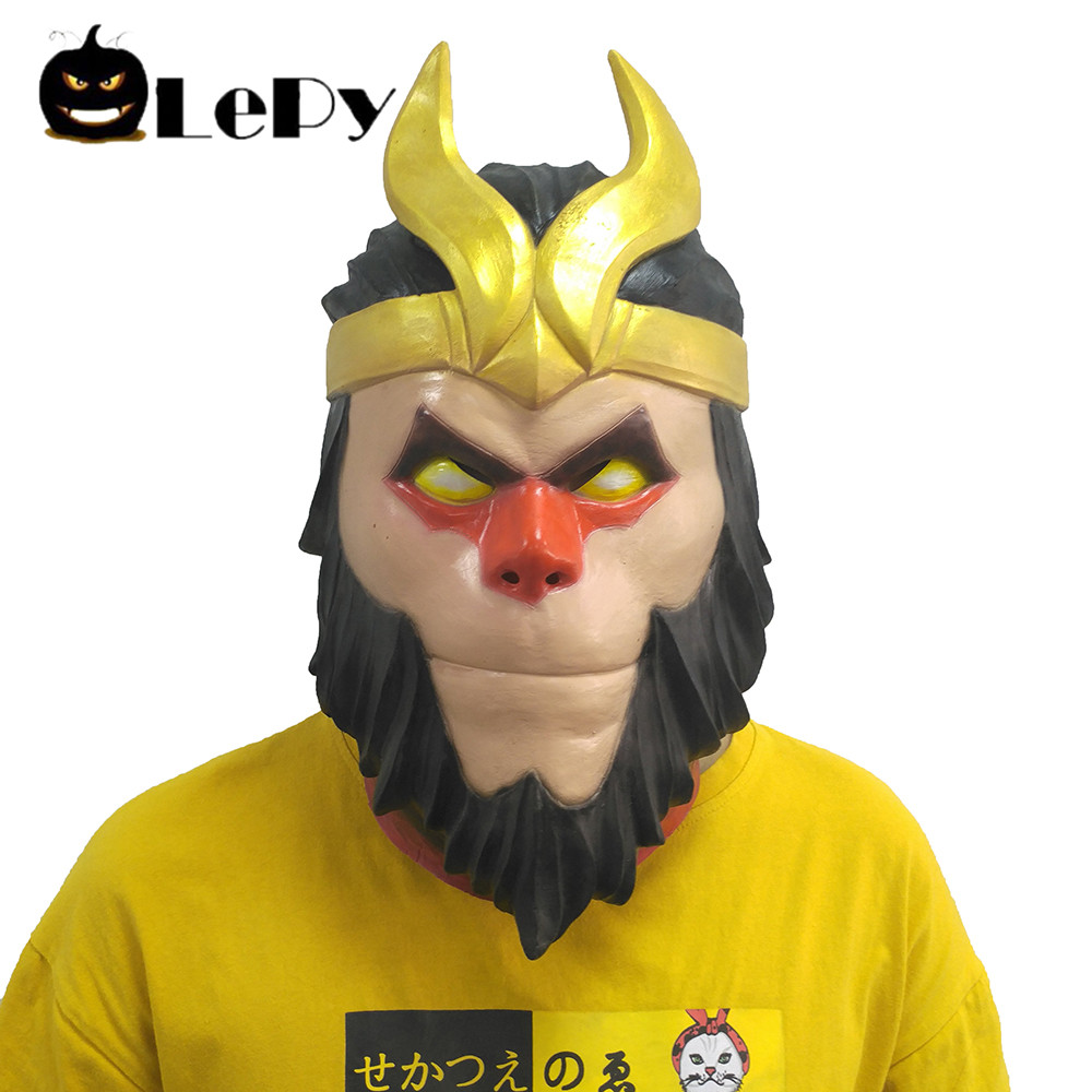 Journey West Monkey Mask Cosplay Latex Sunwukong Masks Helmet Adult Full Face Halloween Party Masque Props