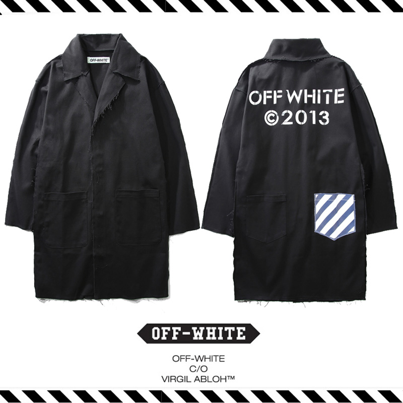 7496e5e547071 Best Version Fall Winter OFF White C O Virgil Abloh 2013 stripe pocket  letters printed long section of male female trench coat