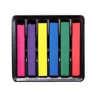 6 colores/Set DIY Color de pelo tiza lavable no tóxico temporal Pastel pelo cuadrado Color tiza para herramienta de peluquería