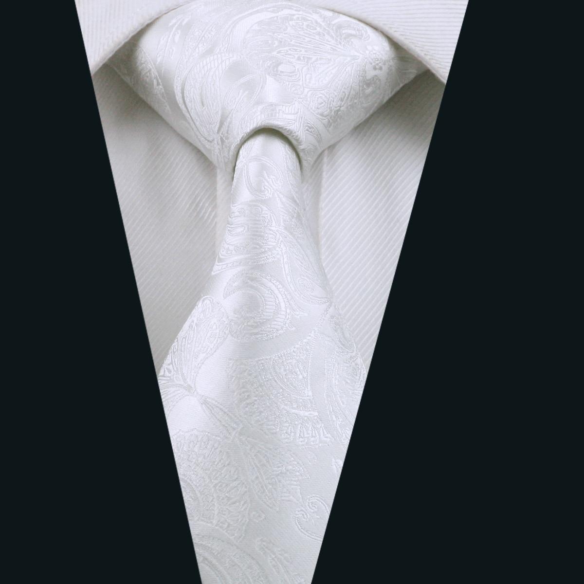 DH 393 Mens Tie White Paisley NeckTie Silk Jacquard Ties ...