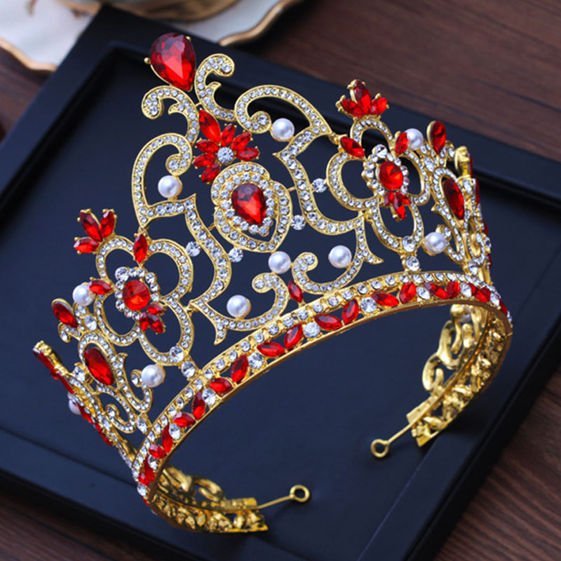 Baroque Vintage Red Crystal Bridal Tiara Wedding Hair Accessories Gold  Rhinestone Pageant Prom Crown for Bride 500d5cca455f