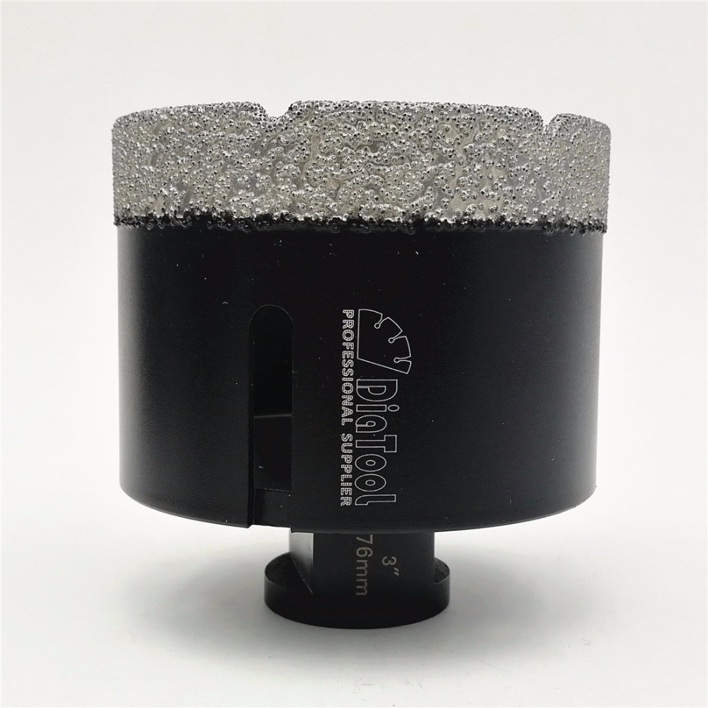 DIATOOL 1pc Dia 76mm Diamond Drill Core Bit Vacuum Brazed Diamond Dry Drilling Bit 5/8-11 Thread Granite Marble Ceramic Hole Saw 2pcs dia 125mmx10mm vacuum brazed diamond grinding wheel dia 5 beveling wheel flat for marble granite artificial concrete stone