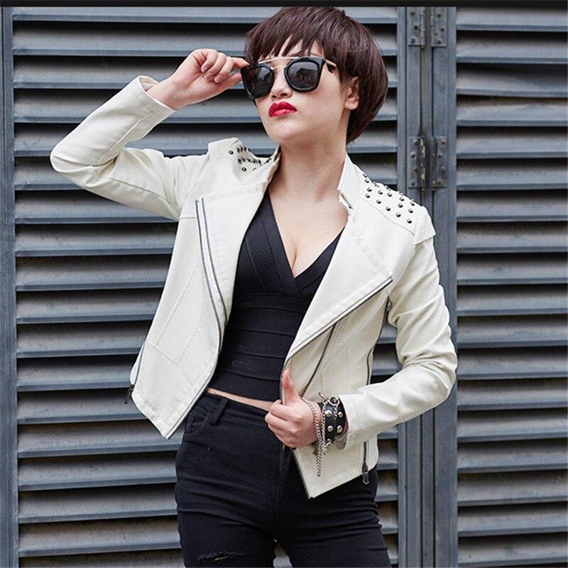 Court Bomber Noir Pu Moto Haute Qualité Blanc Moulante Punk Parka Coréen Femmes Printemps Dames Rouge Veste Style 2YHeWbE9DI