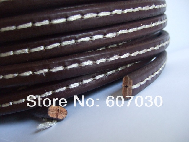 Dark Brown Genuine Stitched White Color Licorice Leather Jewelry Bracelet Cord 10x6mm 1 Yard
