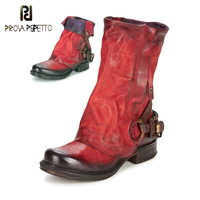 Prova Perfetto Original Retro Style Real Leather Pleated Belt Buckle Mid Calf Boot Comfort Neutral Large Size Women Knight Boots