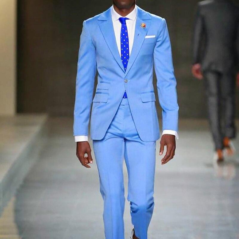 Blue Men Custom Made Casual Suits Men Slim Fit Business Wedding Suits Men Prom Dinner Street Suits 2 Pieces Costume Jacket Pant