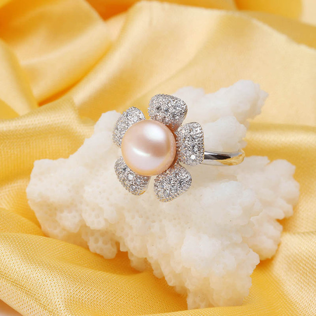 Dainashi Good 100% Natural Stone Freshwater beads for jewelry making Pearl Jewelry 925 Sterling Silver Rings  adjustable rings