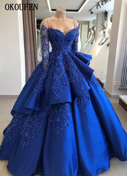 Ball-Gown Quinceanera-Dresses Long-Sleeves Princess Beaded Party Royal-Blue Layered Off-The-Shoulder