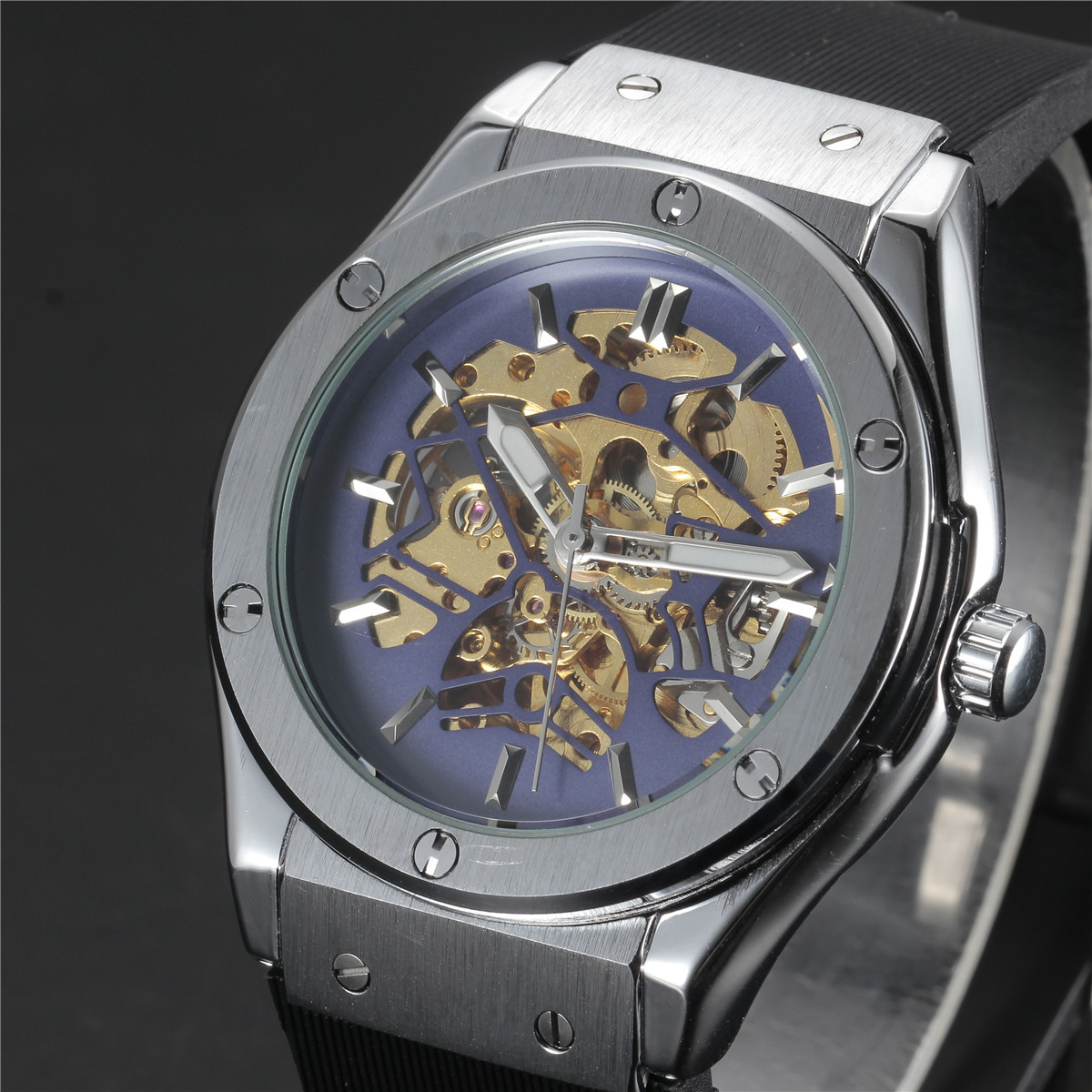 WINNER Watches Men Luxury Brand Sports Casual Military Clock Wristwatches Automatic Wind Mechanical Skeleton Watch Rubber Strap winner brand retro automatic self wind watches men stainless steel strap skeleton wristwatch male casual clock mechanical watch