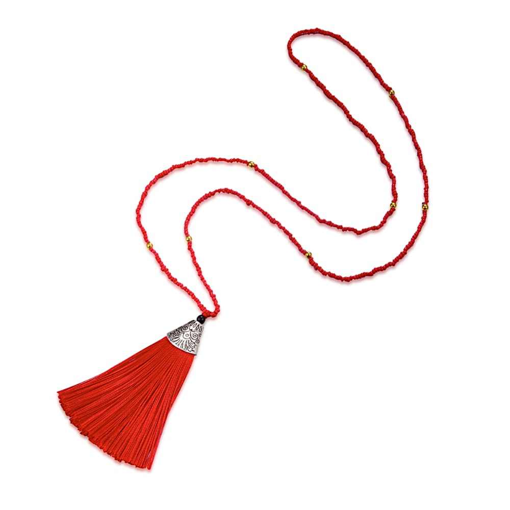 HC Bohemian Beads Tassel Pendant Necklace Colorful Women Party Jewelry Fashion Long Chain Necklace Trendy Boho Choker Necklace W