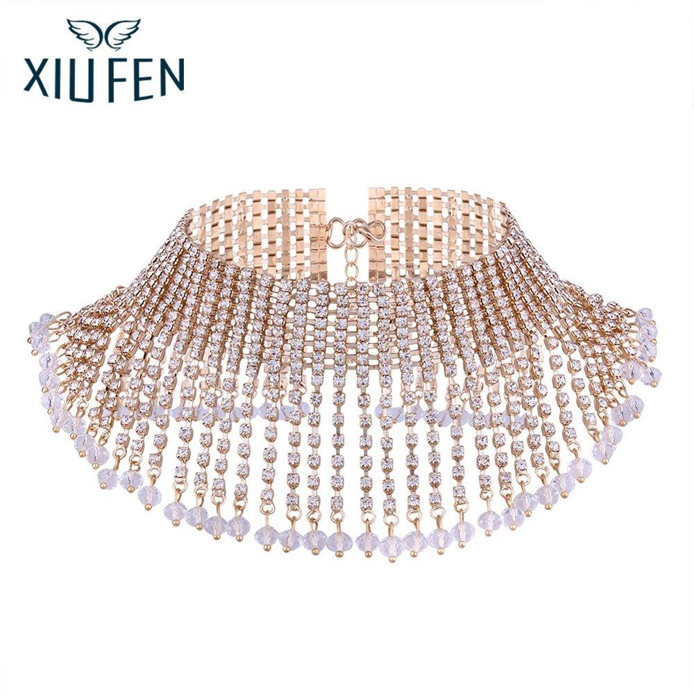 XIUFEN Fashion Gorgeous Fully-Jewelled Necklace With Tassels Rhinestone Necklace Gracefu ...
