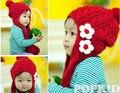 НОВАЯ Зимняя Красный Прекрасные Дети Девушки два цветка шерсти Вязание Hat Детские Наушники крышку