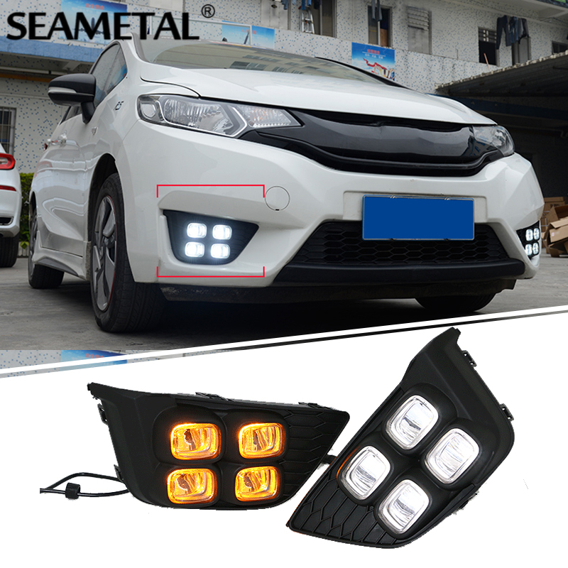 SEAMETAL Car Daytime Running Lights Fog Lamps DRL LED Turn Signals Light For Honda Fit Jazz 2013 2014 2015 2016 2017 Accessories 2pcs led white yellow daytime running lights drl for honda fit jazz 2014 2015
