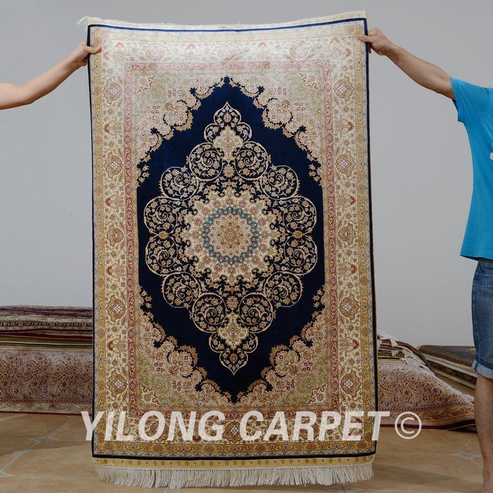 Yilong 3.3 'x5' Tabriz tapis de soie bleu foncé fait à la main exquis traditionnel turc tapis de soie (0068)