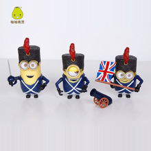 3pcs/set 8cm cute Minion Cos Despicable me 3 British small yellow family Boxed Set Model PVC Action Figures Toys free shipping