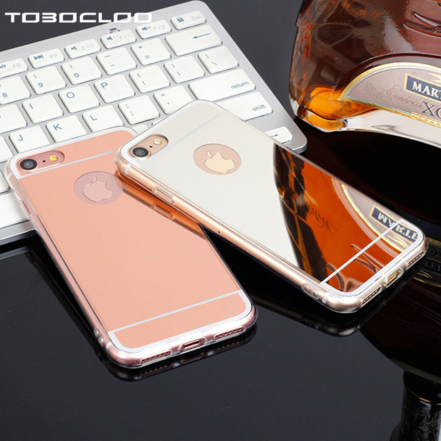 Tobocloo For iphone 5 5s SE 6 6s 7 7Plus Plus 6Plus 8 X Mirror TPU Electroplating Luxury Soft Silicone Case Protector Cover