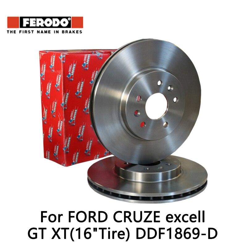 2pcs/lot Ferodo Car Front Brake Disc For FORD CRUZE 1.6 1.8L excell GT XT(16Tire)1.6 1.6T 1.8 DDF1869-D 2pcs lot ferodo car front brake disc for volkswagen polo 1 4 1 6 lavida bora golf 4 ddf929 d