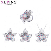 Xuping Jewelry Charms Styles Set Flower Shape Trendy Crystals from Swarovski Jewellery for Women lovers' Gift S143.1-64560(China)