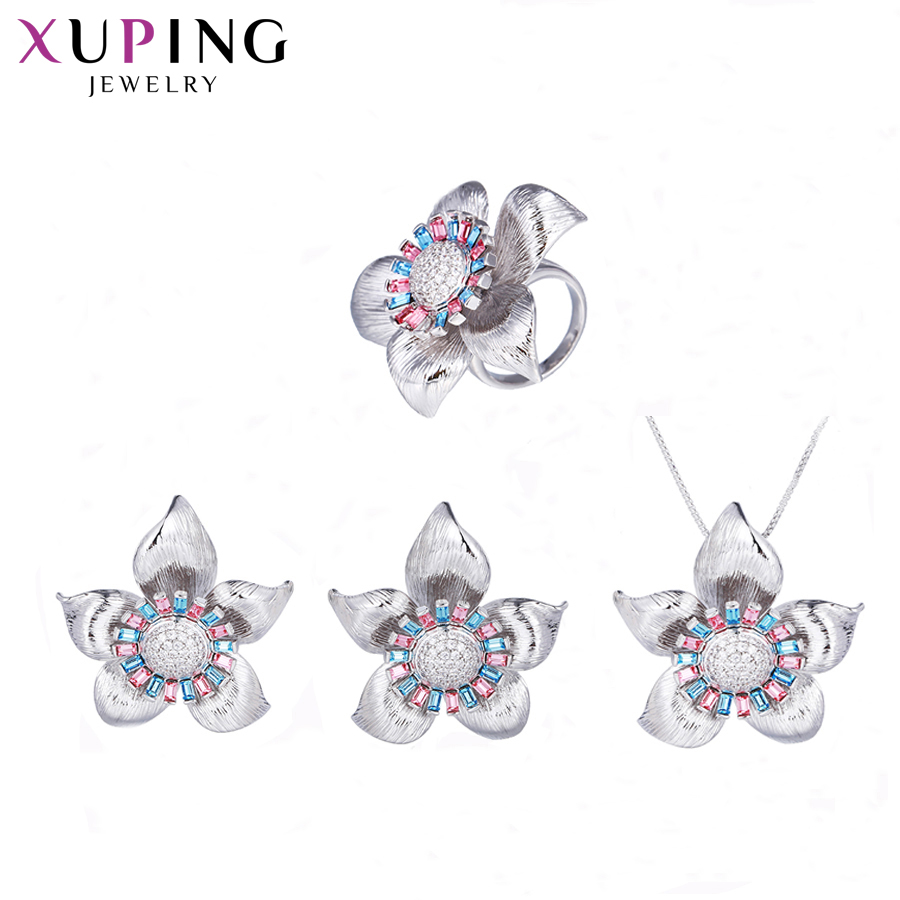 Xuping Jewelry Charms Styles Set Flower Shape Trendy Crystals from Swarovski Jewellery for Women lovers' Gift S143.1-64560
