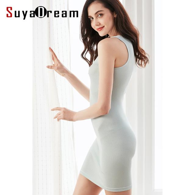 80% Salud Natural de Seda 20% Algodón de Las Mujeres vestido Ajustado Sólido resbalones de punto tejidos de punto Acanalado Sin Mangas delgado Bajo El vestido Nuevo