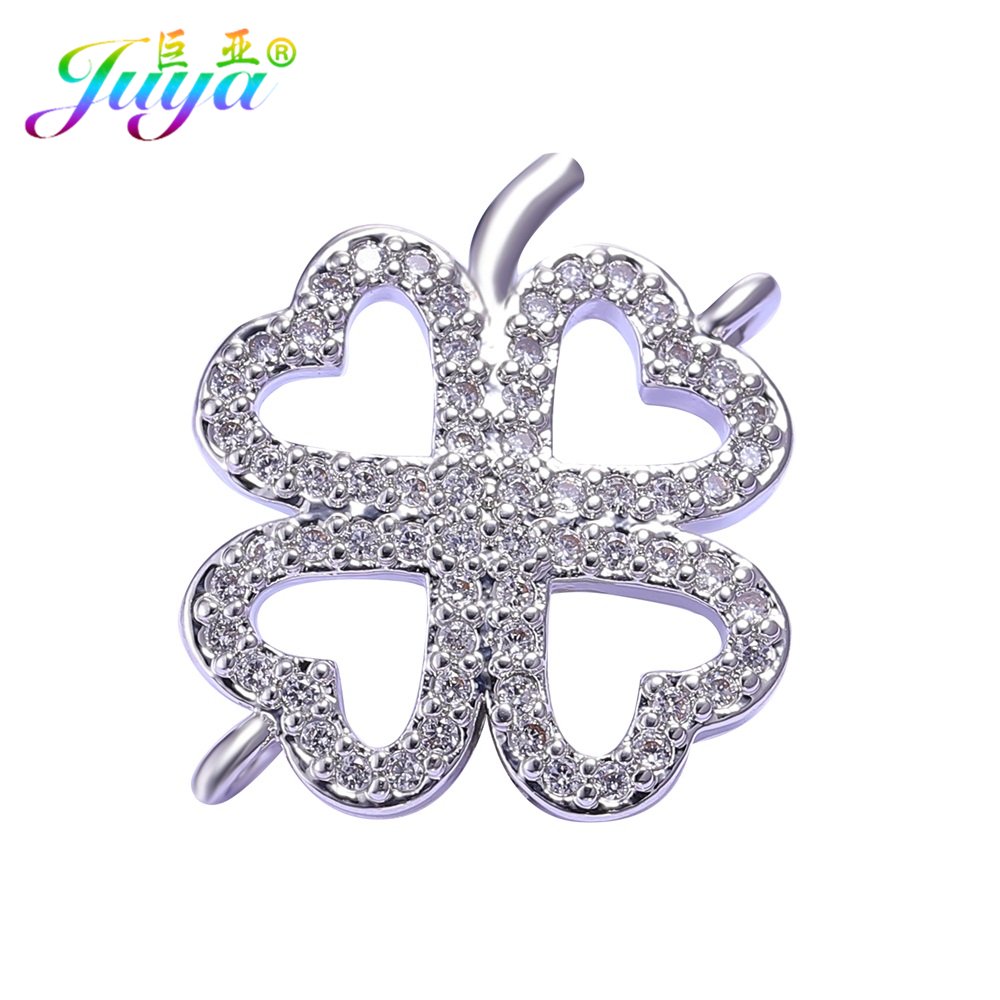 Needlework Earrings Jewelry Components Gold/Silver Lucky Clover Charm Connector Accessories For Women Charm Bracelets DIY Making