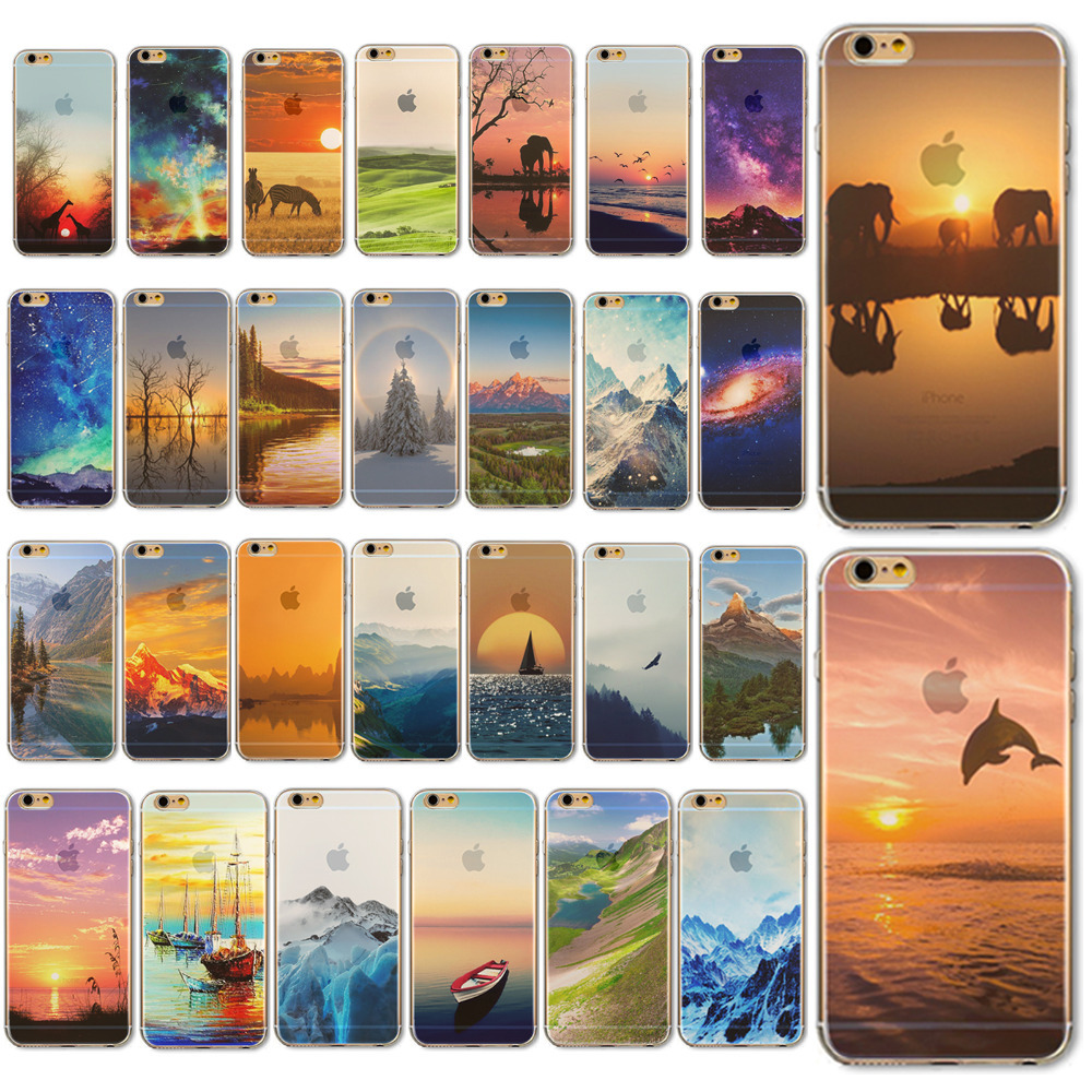 Cases Skin for Apple iPhone 5 5S 5G Ultra Thin Soft TPU Moblie Phone Mountains Painted Colorful Back Phone Case Cover Protective