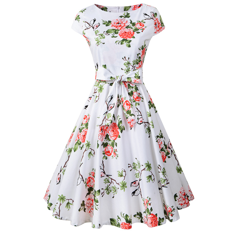 f66046873dd Chicanary Cap Sleeve Vintage Dress with Belt Women Audrey Hepburn 1950s Swing  Dance Retro Dresses-in Dresses from Women s Clothing on Aliexpress.com ...