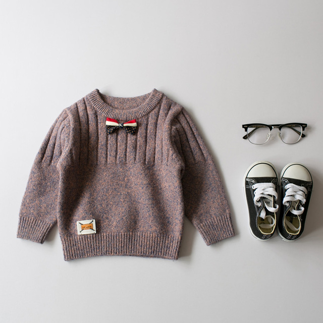 New 2017 autumn and winter children 's sweater boy baby tide round neck bow sweater cashmere sweater