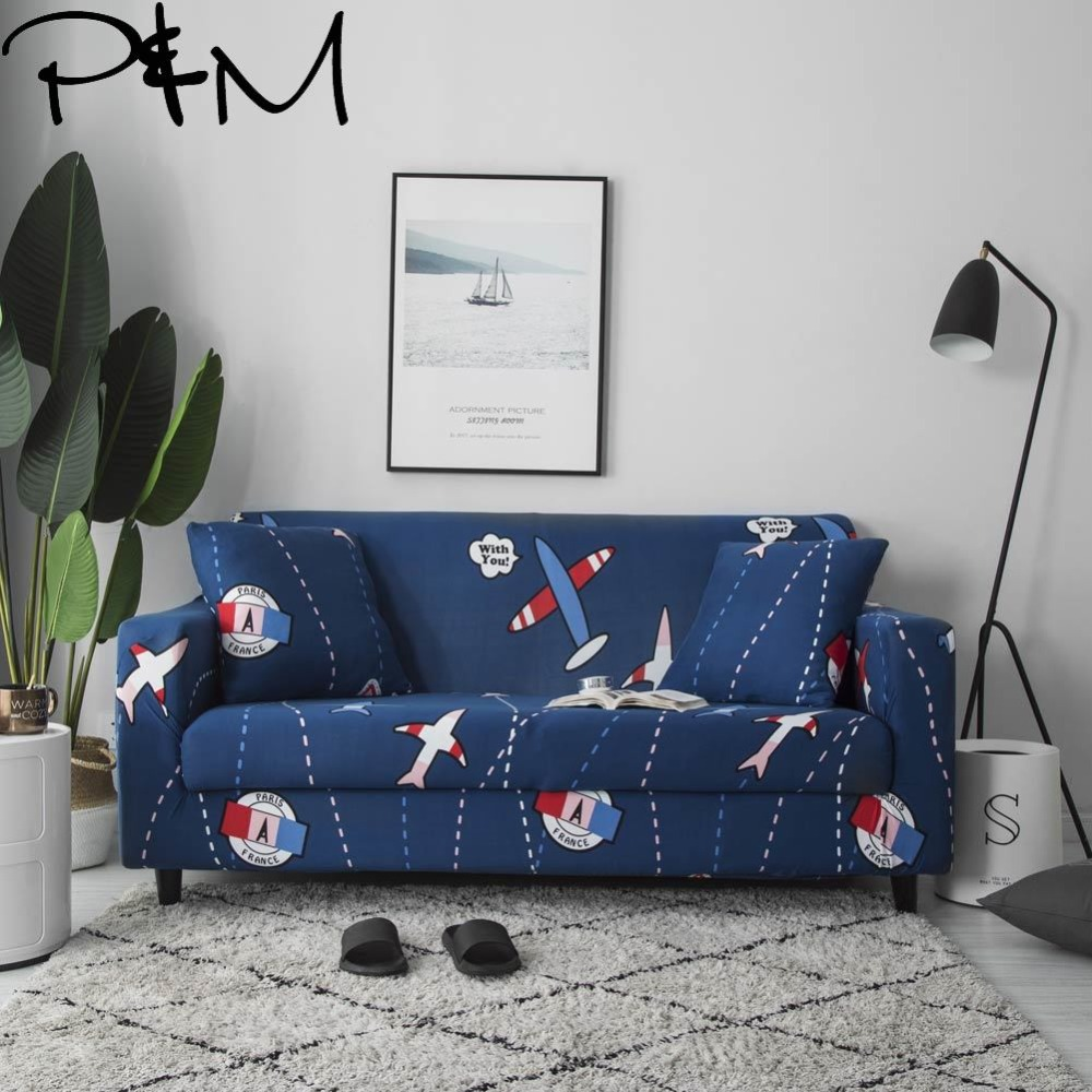 Papa Mima small plane Print Stretch Sectional Sofa Covers fabric Single Two Three Four Seats Soft Slipcovers Elastic Couch Cover in Sofa Cover from Home Garden