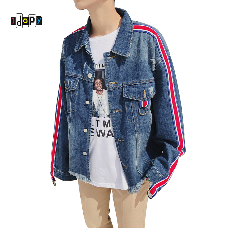 Idopy Men's Denim Jacket Vintage Washed Ripped Distressed Hip Hop High Street Style Loose Fit Biker Jean Jacket Coat For Male high quality mens jeans ripped colorful printed demin pants slim fit straight casual classic hip hop trousers ripped streetwear