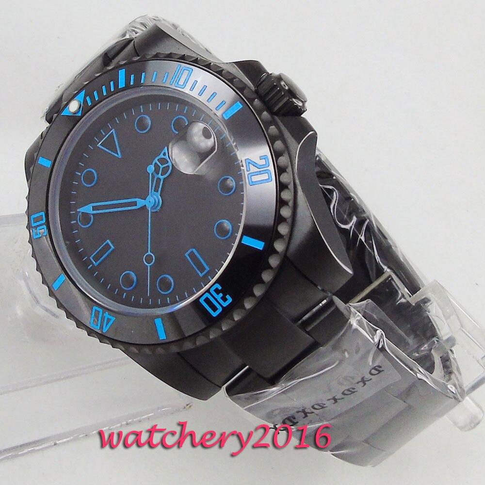 40mm Bliger Black Dial Sapphire Glass Date Ceramic Bezel PVD Case Blue Marks Automatic Movement men