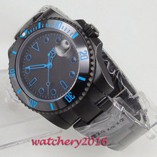 лучшая цена 40mm Bliger Black Dial Sapphire Glass Date Ceramic Bezel PVD Case Blue Marks Automatic Movement men's Watch