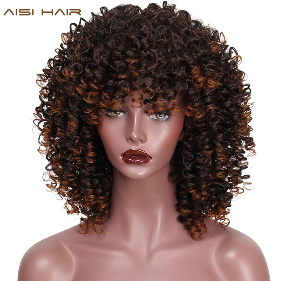AISI HAIR Mixed Wig Kinky Curly Synthetic Wigs For Black Women Short Brown Fluffy Wig With Bang Heat Resisitant Hair
