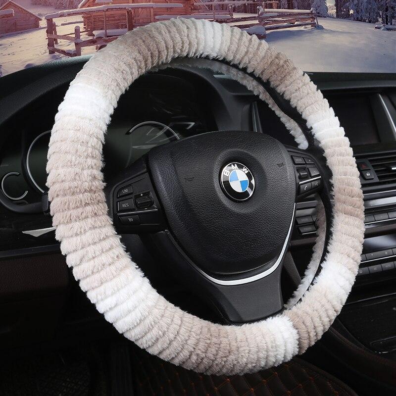 KKYSYELVA Warm Fur Car steering wheel cover Winter Woolen Interior Accessories 38cm wool Auto Steering-wheel Covers