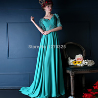 Hot 2015 New Long Turquoise Co Backless Lace Applique Decorative Chiffon Sleeve Dress Gala Dress Abaya
