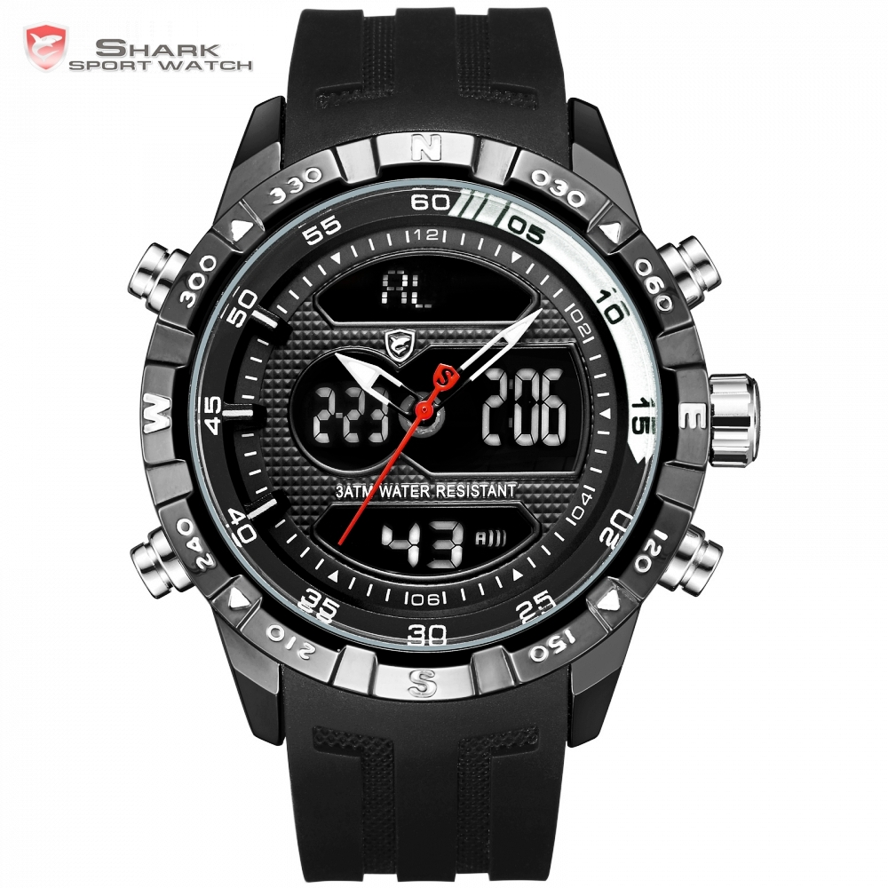 Hooktooth SHARK Alarm Auto Date Cool Men Clock Black Silicone Strap Band Analog Digital Display Chronograph Sport Watches /SH597 shark sport watch analog alarm auto date