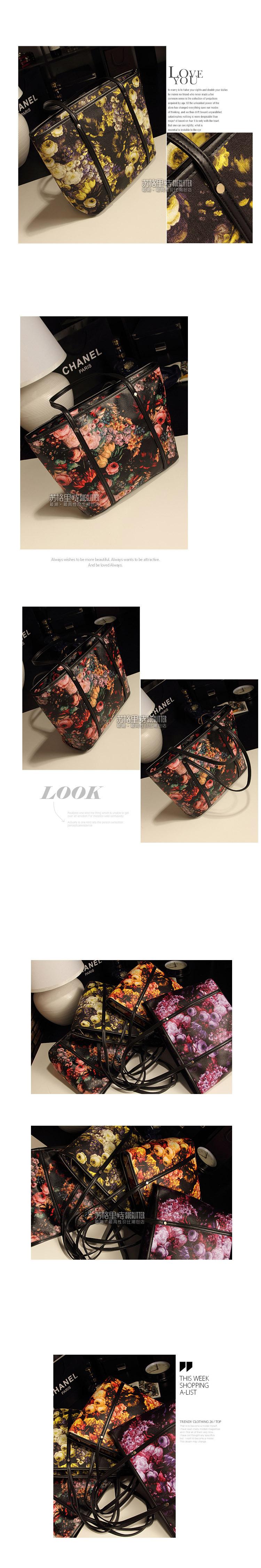 2018 new retro big bag Korean fashion ladies bag shoulder bag oil painting bag factory delivery 8