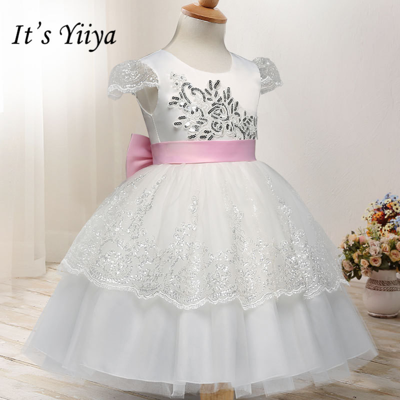 It's yiiya Fashion Sequined Embroidery   Flower     Girl     Dresses   Elegant O-neck   Girl     Dress   B018