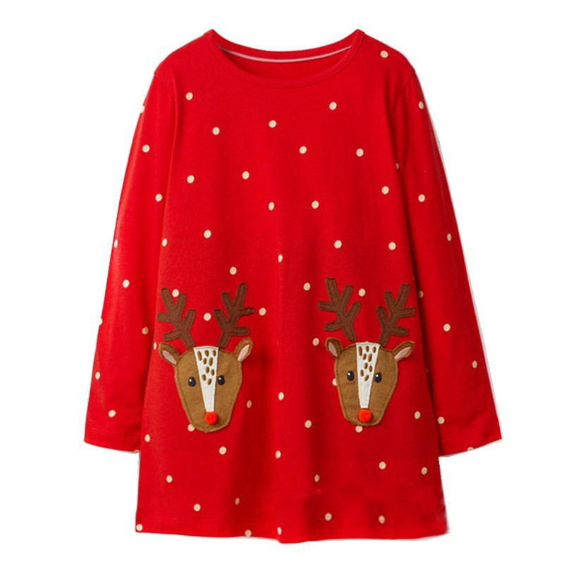Jumping meters 18M-6T Children girls dresses applique deer kids dress long sleeve polka dot red dress gift Christmas dress girl polka dot slit hem contrast dress