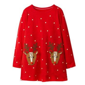 Jumping meters 18M-6T Children girls dresses applique deer kids dress long sleeve polka dot red gift Christmas girl