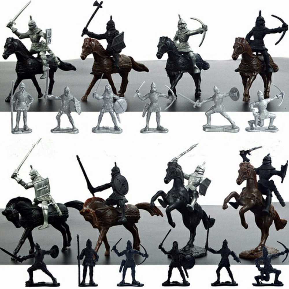 Children's 28Pcs/Set Medieval Knights Warriors Horses Kids Toy Soldiers Figures Static Model Playset playing on sand castles ancient knight 28pcs set soldiers and horses medieval model toy soldiers figures