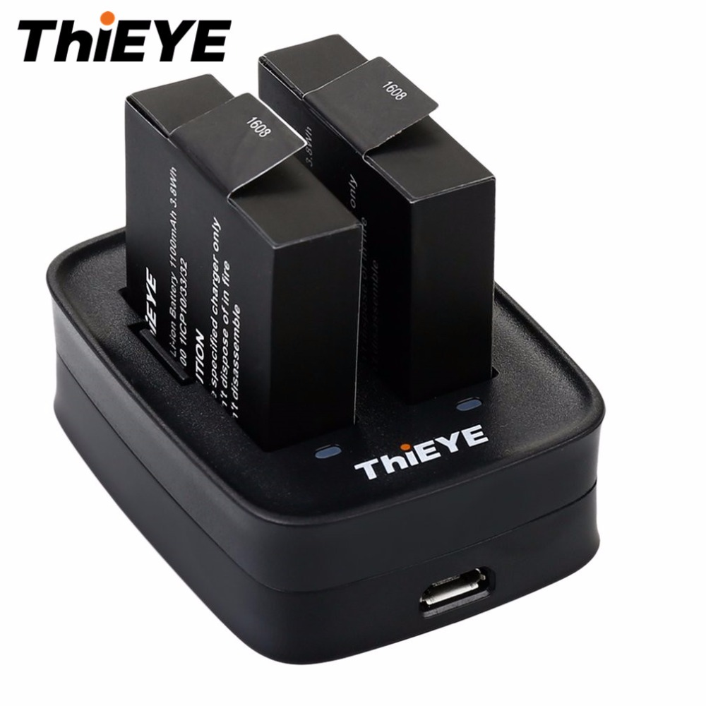 Portable Original THIEYE Dual charger High-efficiency Double Charging Battery Charger for THIEYE T5e Action Camera