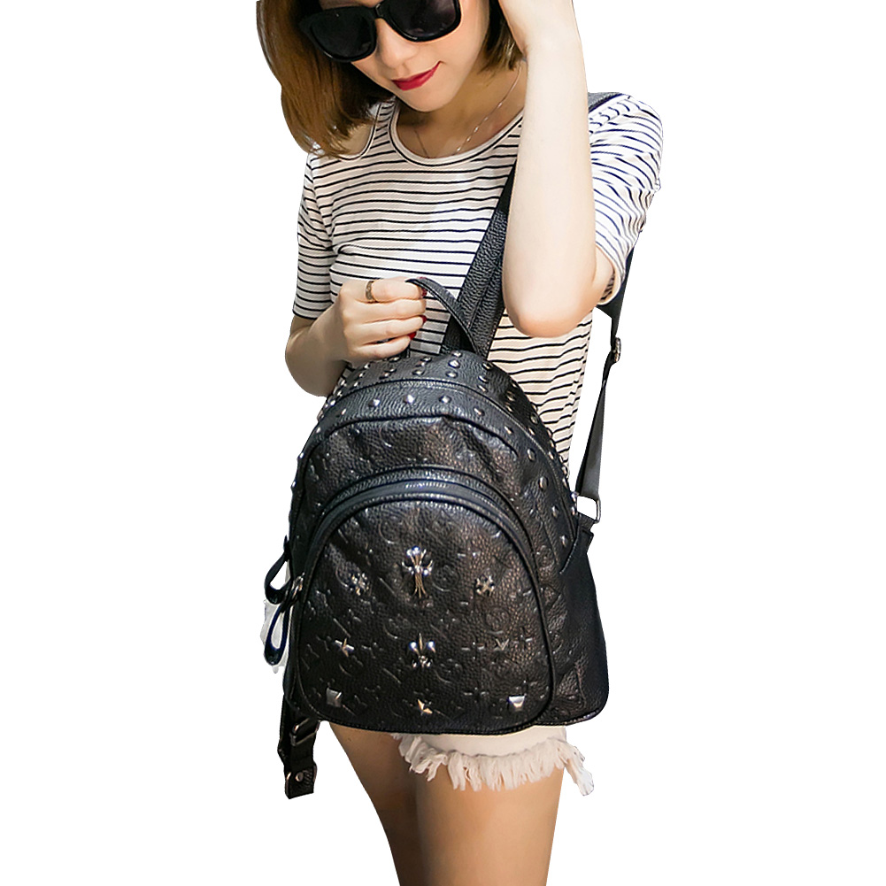 ФОТО New Fashion Women's Shoulders Bag PU Backpack Rivet bag Leisure Travel Bag Schoolbag College Wind Teens Girl High Quality 47